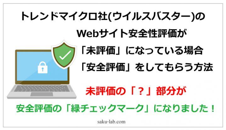 トレンドマイクロ社(ウイルスバスター)のWebサイト安全性評価が「未評価」になっている場合、安全評価をしてもらう方法
