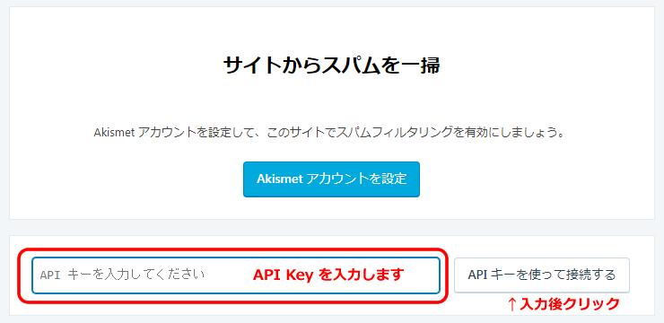 「API Key」を入力(貼付)します。